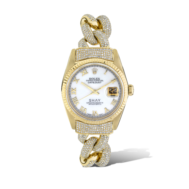 YELLOW GOLD WHITE MOTHER OF PEARL ROLEX WATCH