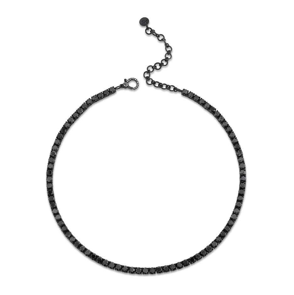 BLACK DIAMOND TENNIS NECKLACE, 15IN