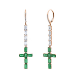 EMERALD LONG CROSS EARRINGS