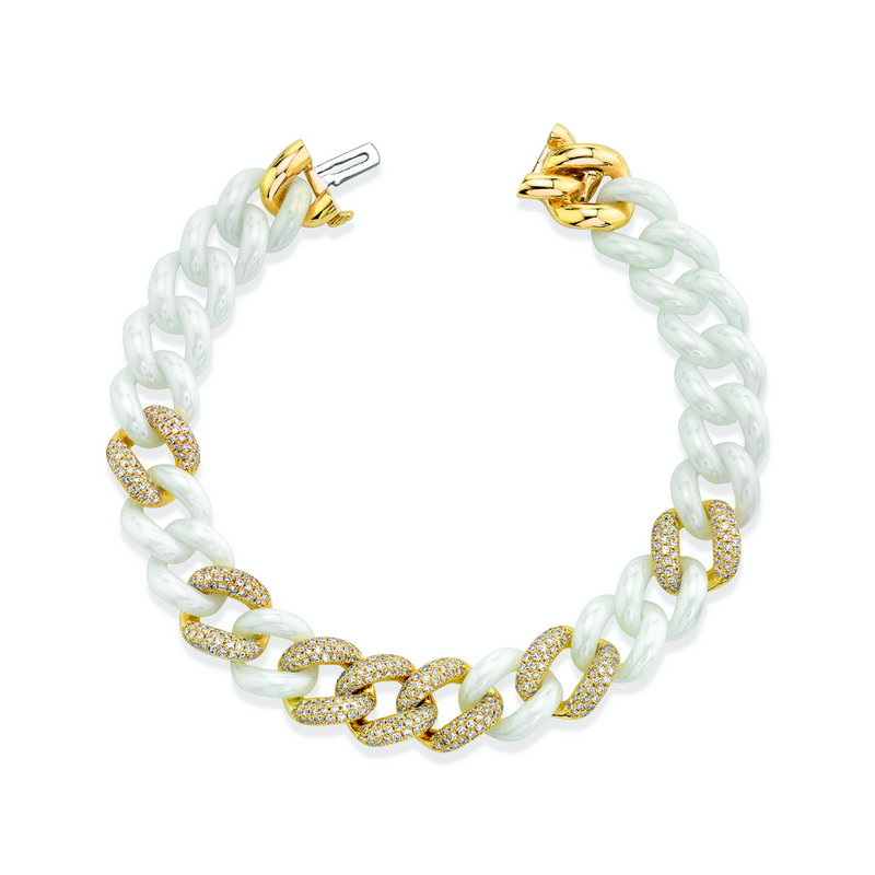DIAMOND 7 PAVE & WHITE CERAMIC ESSENTIAL LINK BRACELET