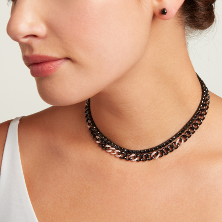 BLACK DIAMOND & CERAMIC MEDIUM LINK NECKLACE