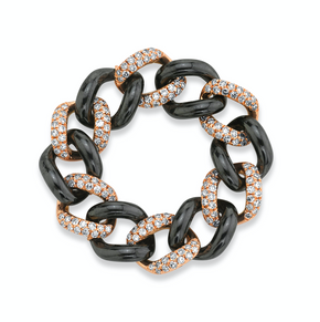 PAVE & CERAMIC MEDIUM LINK RING