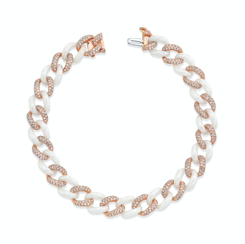 DIAMOND PAVE & WHITE CERAMIC MEDIUM LINK BRACELET