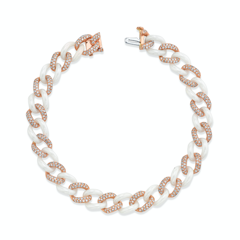 READY TO SHIP DIAMOND PAVE & WHITE CERAMIC MEDIUM LINK BRACELET