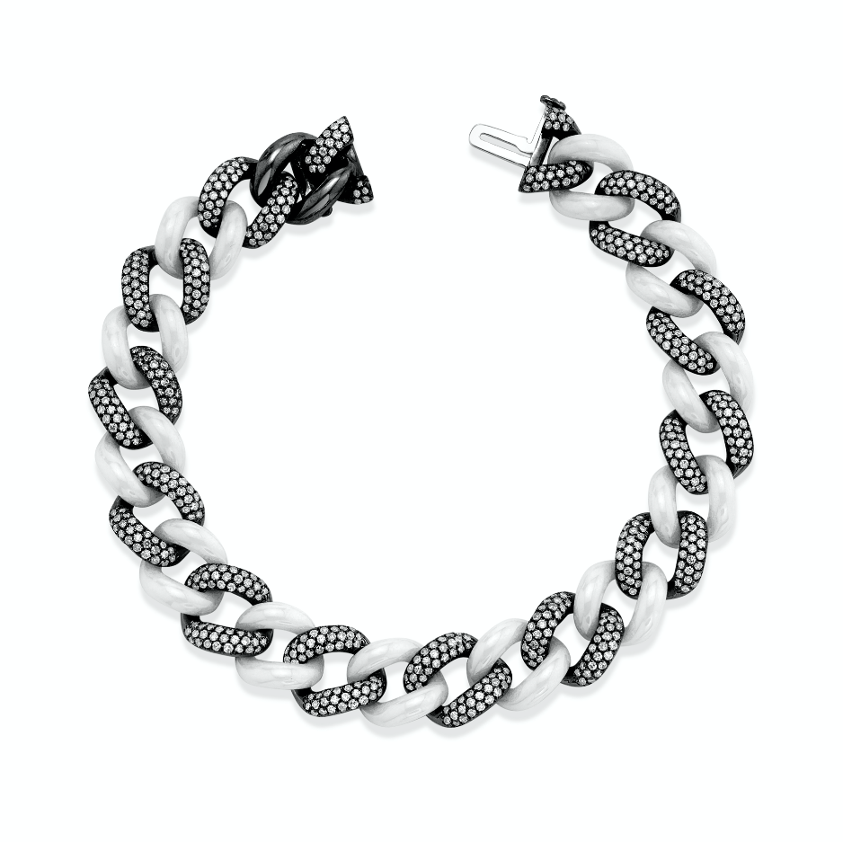 DIAMOND PAVE & WHITE CERAMIC ESSENTIAL LINK BRACELET