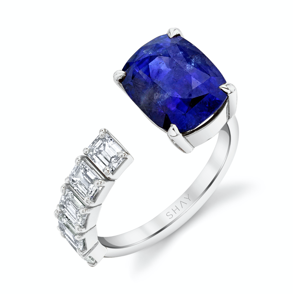 READY TO SHIP FLOATING SAPPHIRE & DIAMOND RING