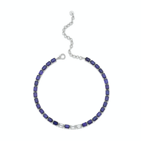 BLUE SAPPHIRE & DIAMOND TENNIS NECKLACE