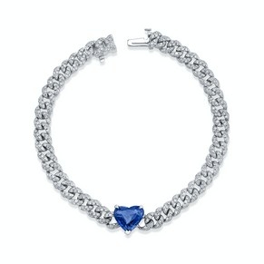 READY TO SHIP BLUE SAPPHIRE HEART PAVE MINI LINK BRACELET