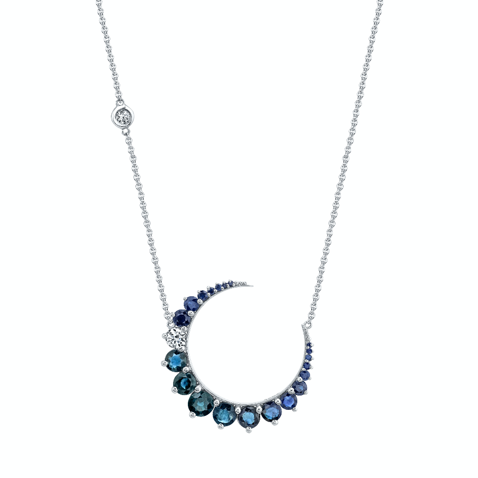 DASHING DIAMOND & BLUE SAPPHIRE CRESCENT MOON NECKLACE
