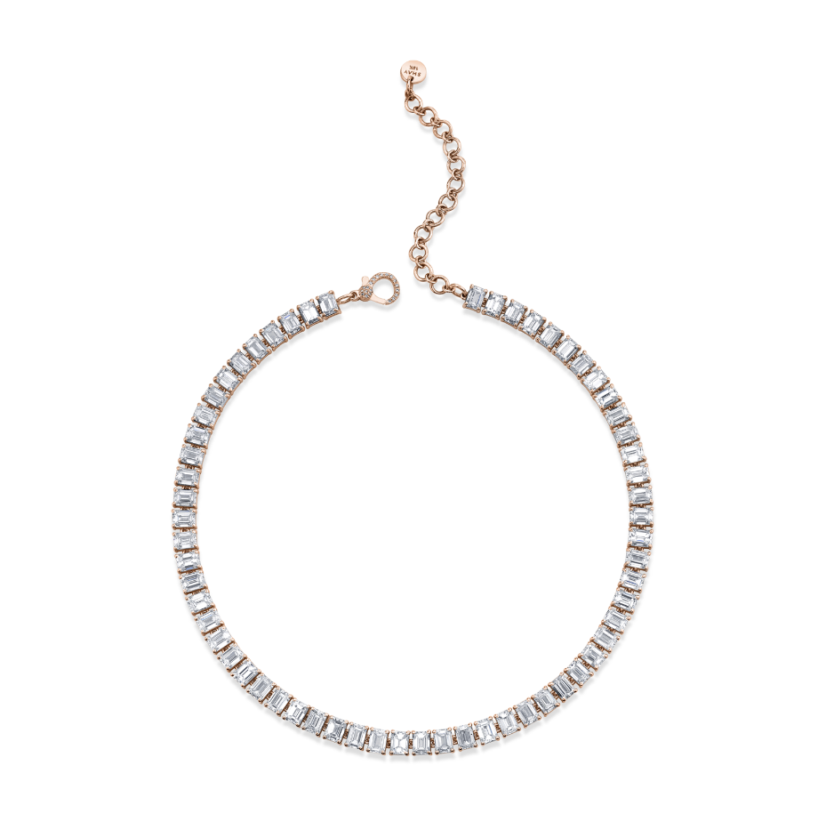 LARGE DIAMOND EMERALD CUT TENNIS NECKLACE