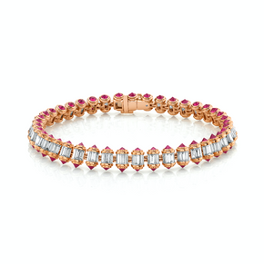 READY TO SHIP DIAMOND & RUBY RIPPLE BRACELET