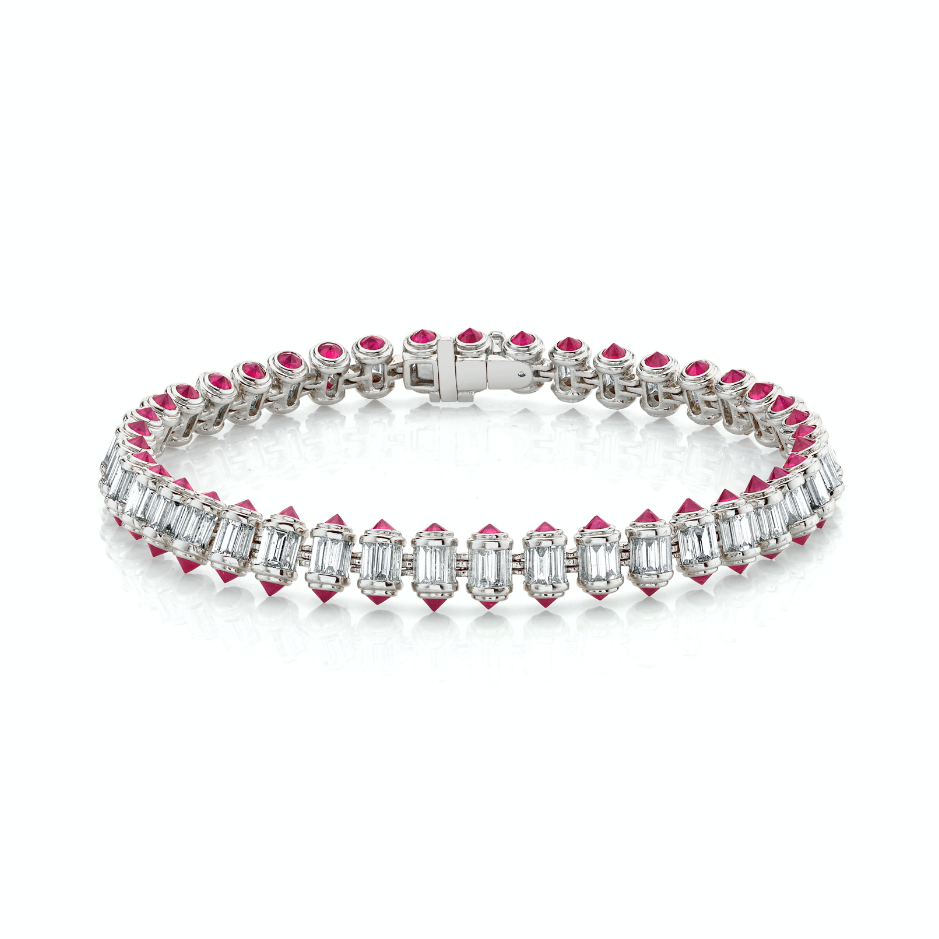 DIAMOND & RUBY RIPPLE BRACELET