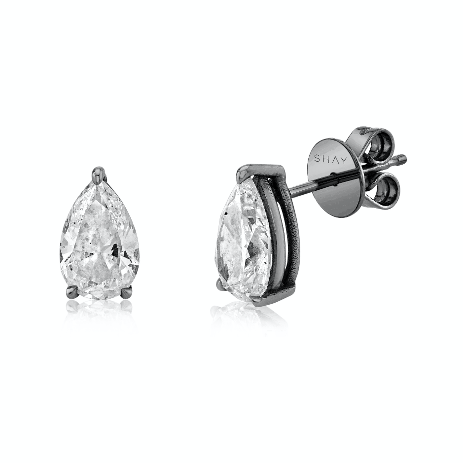 LARGE DIAMOND PEAR SOLITAIRE STUDS