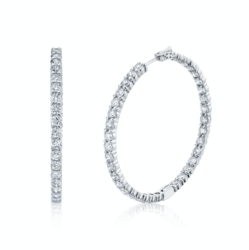 LARGE DIAMOND INSIDE OUT HOOPS