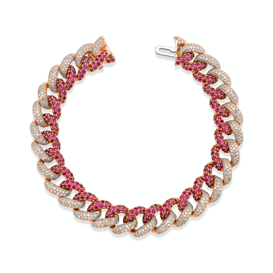 READY TO SHIP RUBY & DIAMOND PAVE TWO-TONE ESSENTIAL LINK BRACELET
