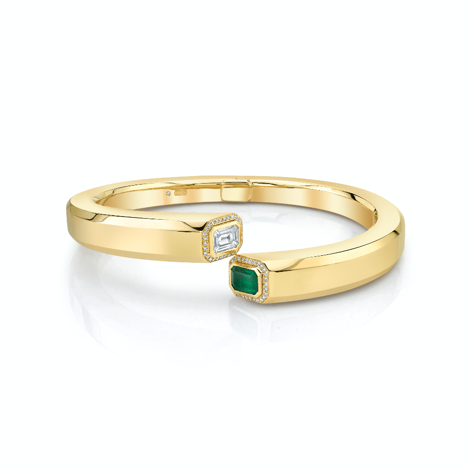 DIAMOND & EMERALD HALO BYPASS BANGLE