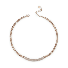 DIAMOND CURVED ID BAR MINI LINK CHOKER