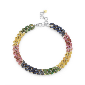 RAINBOW PAVE JUMBO LINK NECKLACE