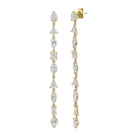 FIVE STAR DIAMOND DROP EARRINGS