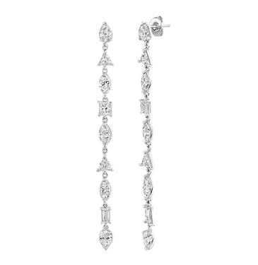 MIXED DIAMOND DROP EARRINGS