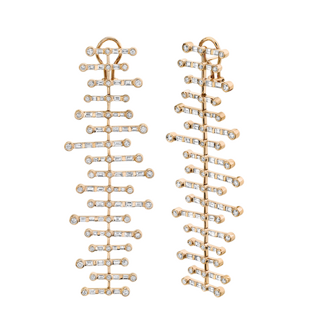 9 TIER BAGUETTE DROP EARRINGS
