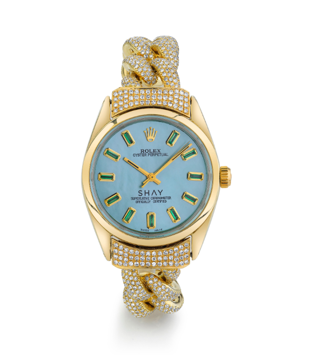 CUSTOM BLUE MOTHER OF PEARL VINTAGE WATCH
