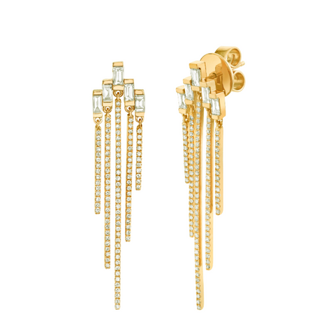 GOLD FISHBONE DROP EARRINGS