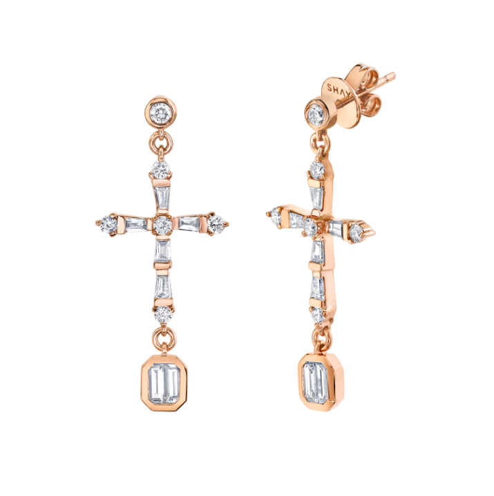BAGUETTE CROSS DROP EARRING