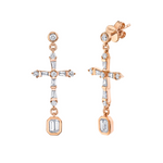 DIAMOND CROSS DROP EARRINGS