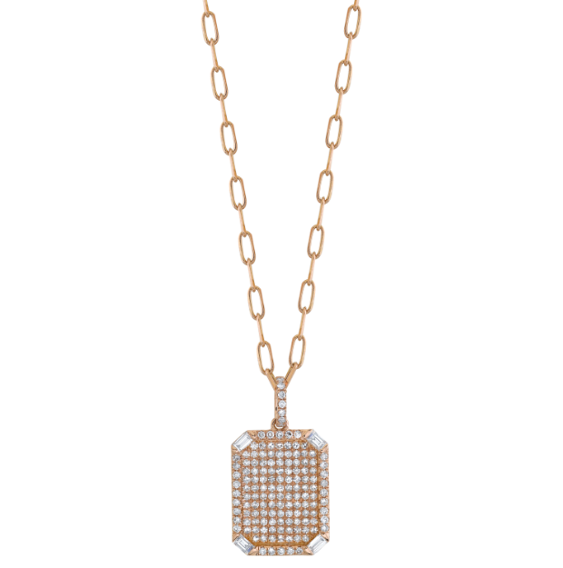 DIAMOND PAVE ID PENDANT NECKLACE