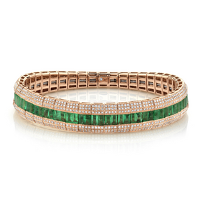 Emerald Stretch Fishbone Bracelet