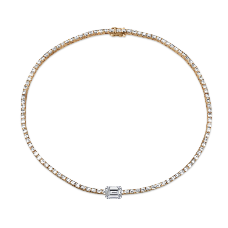 MEGA EMERALD CUT CENTER BAGUETTE TENNIS NECKLACE