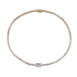 EMERALD CUT CENTER - BAGUETTE TENNIS NECKLACE