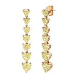 YELLOW DIAMOND 7 HEART DROP EARRINGS