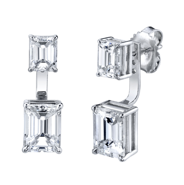DOUBLE EMERALD CUT DIAMOND EAR JACKET