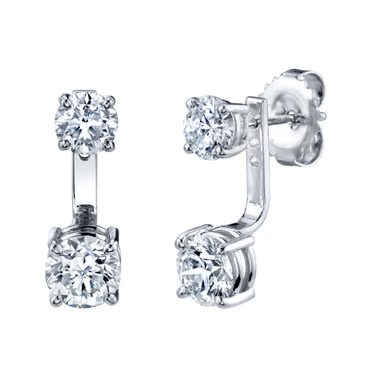 SMALL ROUND DIAMOND DROP EAR JACKET