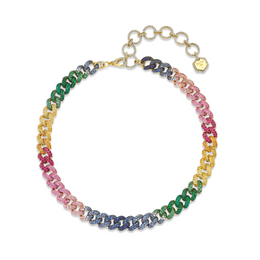 RAINBOW PAVE ESSENTIAL LINK NECKLACE