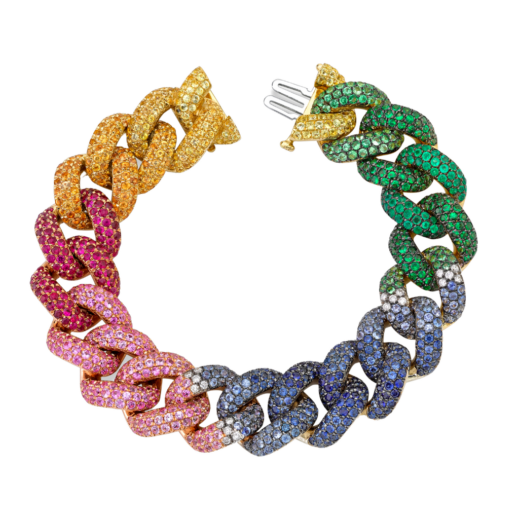READY TO SHIP  RAINBOW PAVE JUMBO LINK BRACELET
