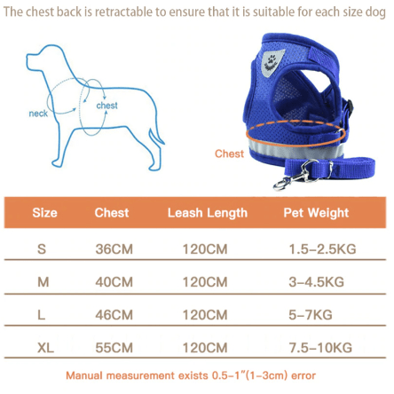 Dog Harness Sizes 444x444