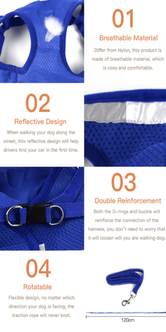 Reflective Dog Harness Details Image 444x888
