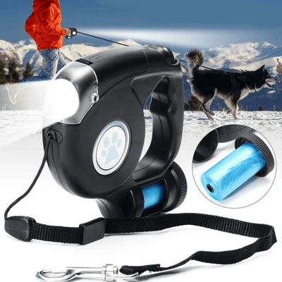 3 in 1 LED Retractable Dog Lead with Garbage Bag - For My Doggo