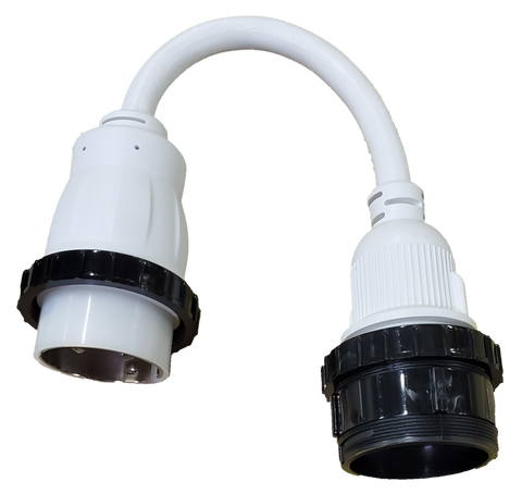 High Tide Marine WHITE 50 Amp Male to Locking 30 amp Female adapter with LED Indicators (7731W)