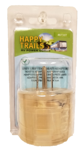 Happy Trails RV standard 15 Amp Male Plug to 30 Amp Female stubby adapter  (6735T)