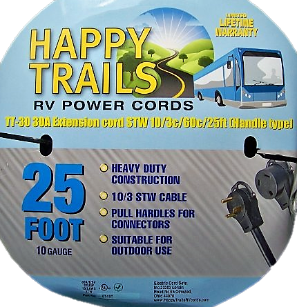 Happy Trails RV 30 Amp - 25 Ft RV Camper Electric Extension Cord With Pull Handles and Lighted Ends (6748T)