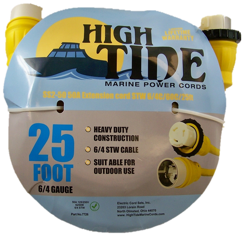 50 Amp - 25 ft Marine Shore Power Extension Cord (7726)