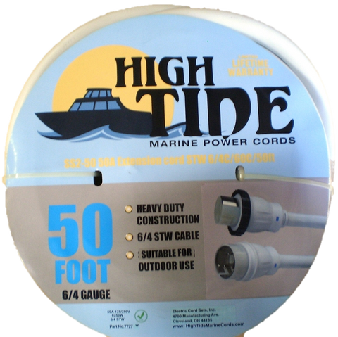 High Tide Marine 50 Amp - 50 ft White Shore Power Extension Cord (7727W)