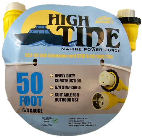 High Tide Marine 50 Amp - 50 ft Shore Power Extension Cord (7727)