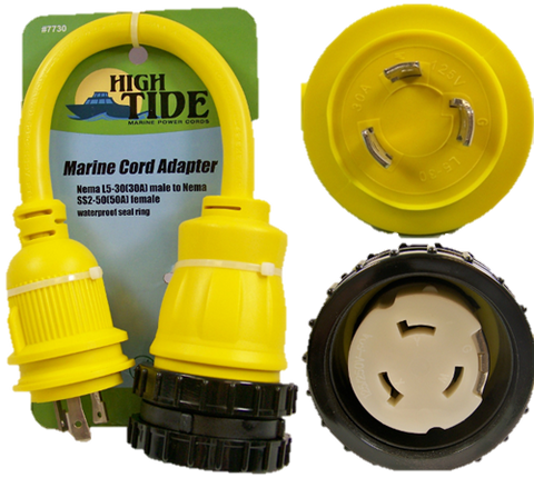 High Tide Marine 30 amp Male to 50 Amp Female Shore Power with LED Indicators (7730)