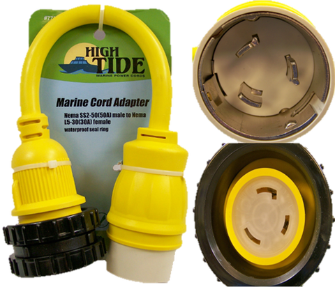 High Tide Marine 50 Amp Male to Locking 30 amp Female adapter with LED Indicators (7731)