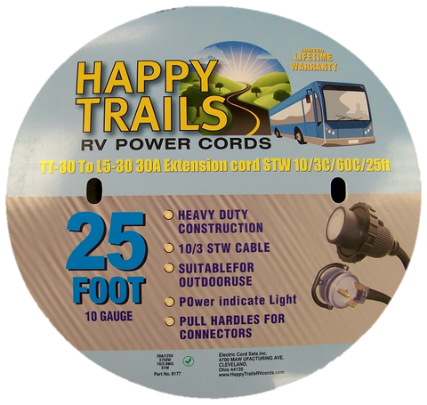 Happy Trails RV 30 Amp - 25 ft RV Locking Power Cord with Lighted Ends and Pull Handle (8177)